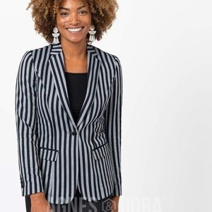 Agnes & Dora Black/Grey Striped Blazer NEW Size L